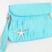 Aqua Blue Wedding clutch with starfish brooch