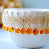 Tangerine Orange Faceted Glass Drops Gold Filigree Dangle Earrings