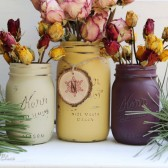 Vintage Christmas Painted Mason Jars