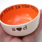 tangerine orange personalized ring dish