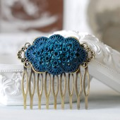 Blue Daffodil Rose Flower Hair Comb