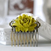 Olive Green Flower Hair Comb