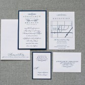 Navy and White Vintage Wedding Invitation Pocket Card - Angelique and Bradley