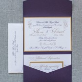 Purple and Gold Formal Pocket Wedding Invitation - Alexa and Daniel
