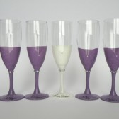 Bridal shower party champagne glasses Hand painted , purple, crystals, bridesmaids dresses
