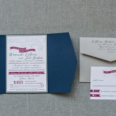 Cute Flower and Banner Navy Blue and Raspberry Wine Wedding Invitation - Amanda and Joel