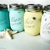 Seaside Painted and Distressed Mason Jars