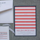 Striped Wedding Invitation Coral and Navy Blue - Amelia and Chad - Custom Colors Available