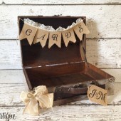 Personalized Wedding Card Box, Rustic Wedding, Burlap Card Banner, Small Wedding
