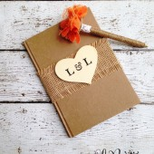 Rustic Wedding Guest Book - Personalized, Wedding Book, Burlap Guestbook