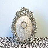 Ring Holder: Latte Linen Oval