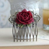 Rustic Red Rose Flower Wedding Comb