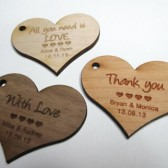 50 - 2 x 2 Heart Tags - Custom Wedding Tags - Wood Wedding Tags