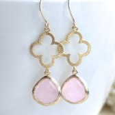 pink lucky clover earrings