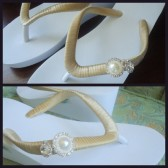 gold Wedge Flip Flops.  Pearls flip flops accented Crystals -Pearls . Rhinestones. Wedding -Magnificent Wedge Collection