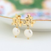 Ivory Pearl and Gold Hydrangea Bouquet Earrings