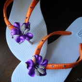 Purple Flip flops. Bridal Orange purple flip flops w Swarovski Crystals. Bridal party, Wedding- PURPLE Blossom Collection 01