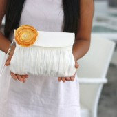 Ivory and Yellow Clutch