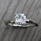 Cushion Moissanite Twig Engagement Ring: White or Yellow Gold