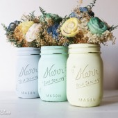 Icy Hues Painted Mason Jars
