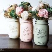 Cream, Blush and Olive Painted Mason Jars