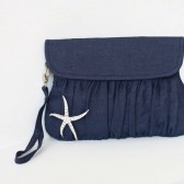 Navy Blue Clutch with starfish brooch
