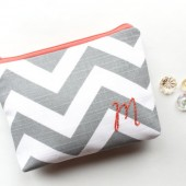 Chevron Monogram Bag in Coral and Gray