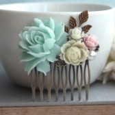Mint Green Rose Flower Wedding Hair Comb