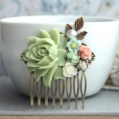 Soft Green Flower Hair Wedding Comb