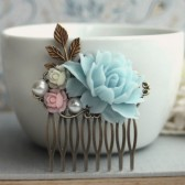 Aqua Blue Flower Rose Collage Hair Comb