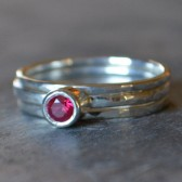 Ruby Solitare Stacking Engagement Ring Sterling Silver