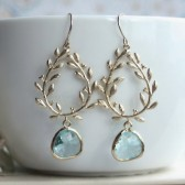 Gold Laurel Wreath with Aqua Blue Glass Drop Earrings
