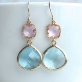 Light Pink and Aqua Glass Gold Earrings