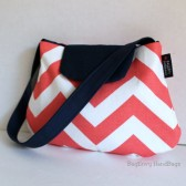 Coral /Navy Chevron Flower girl Purse