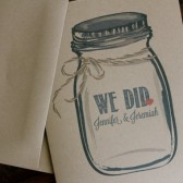 Kraft Mason Jar Ball Jar Personalized WE DID Thank You Wedding Note Cards.