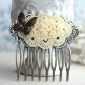 Ivory Floral Butterfly Hair Wedding Comb
