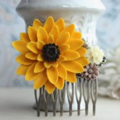 Sunflower Wedding Hair Comb