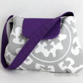 Grey Purple Flower Girl Purse