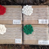 4 Personalized Wedding Clutches - Personalized Clutch - Christmas Clutch - You Choose the Color Flower and Lining