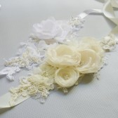 Wedding Dress Sash, hancrafted floral Belt, ivory or white