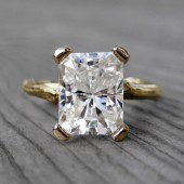 Emerald Cut Moissanite Branch Engagement Ring: 2.5ct, White, Yellow, or Rose Gold, Forever Brilliant