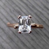 Emerald Cut Sapphire Branch Engagement Ring: Rose Gold, 1ct