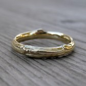 Twig Wedding Band: Yellow, White, or Rose Gold, 3mm wide