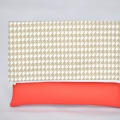 houndstooth and coral vegan leather