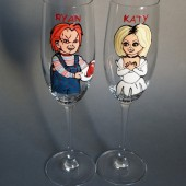 Hand painted Wedding Toasting Flutes Set of 2 Personalized Champagne glasses Chucky and Tiffany