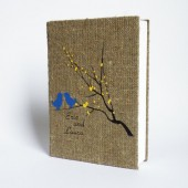 Wedding rustic guest book burlap Linen Wedding guest book Bridal shower engagement anniversary Royal blue birds yellow leaves on brunch