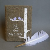 Wedding rustic guest book burlap Linen Wedding guest book Personalized Light purple birds on white birch tree and white Feather Wedding pen