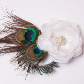 Wedding hair fascinator, bridal hair accessories, wedding head piece, bridal hair piece, Peacock feather hair fascinator