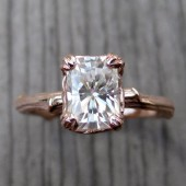 Emerald Moissanite Twig Engagement Ring: Rose, White, or Yellow Gold, Carved Floral Setting, 1ct