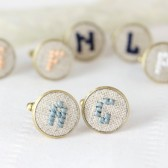 Cufflinks with hand embroidered initials